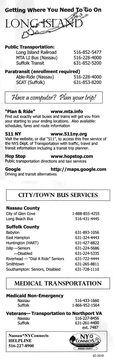 South Shore Home Health Services, Inc. Transportation Flyer
